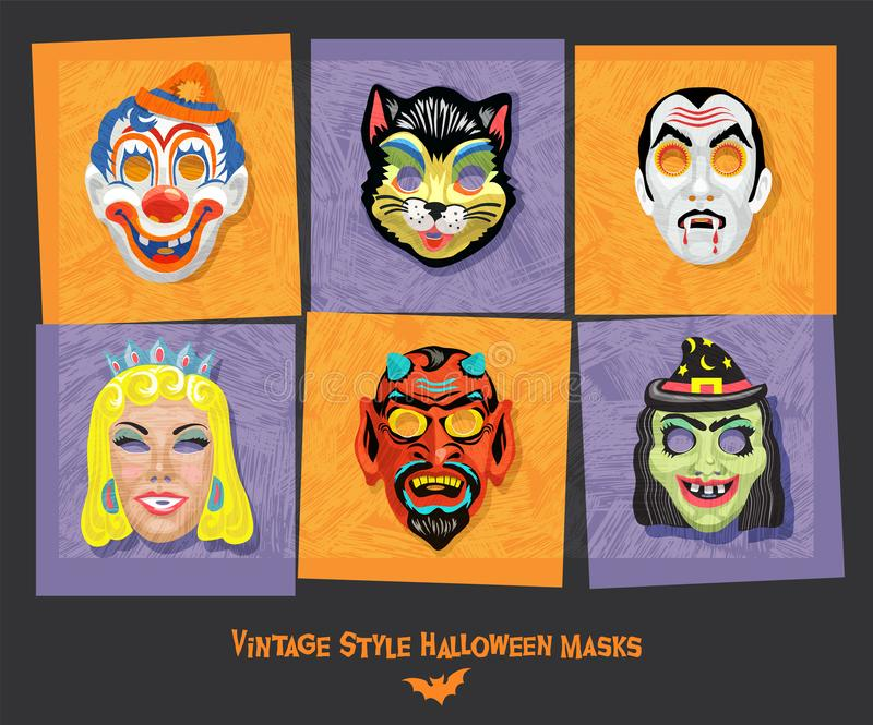 Set of vintage style halloween masks including black cat, clown, witch and vampire. vector illustration