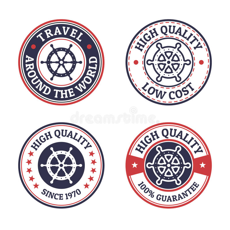 Set of vintage style sea and summer nautical signs, badges and l royalty free illustration