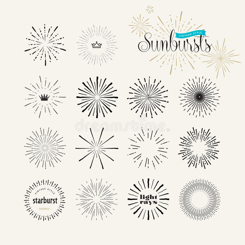 Set of vintage style sunburst elements for graphic and web design stock illustration