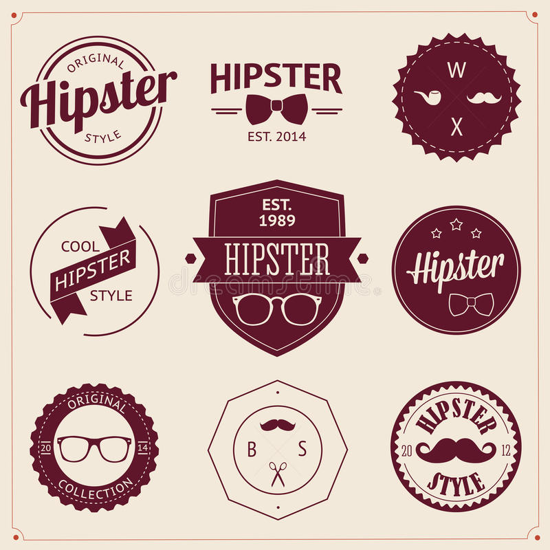 Set of vintage styled design hipster icons. Vector vector illustration