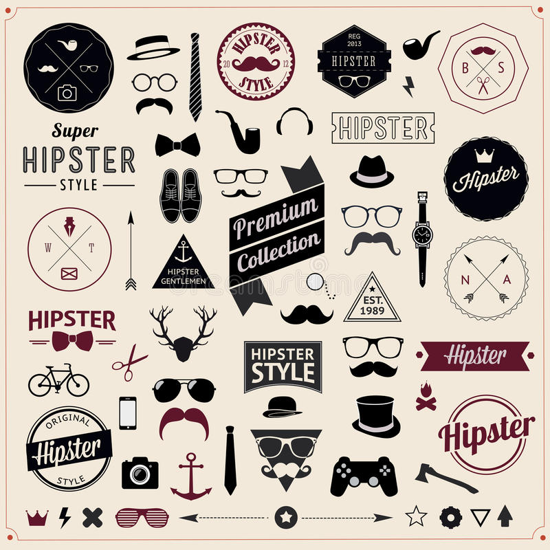 Set of Vintage styled design Hipster icons. Vector royalty free illustration
