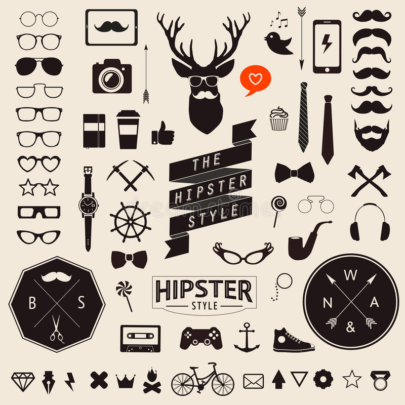 Set of vintage styled design hipster icons. Vector signs and symbols templates stock illustration