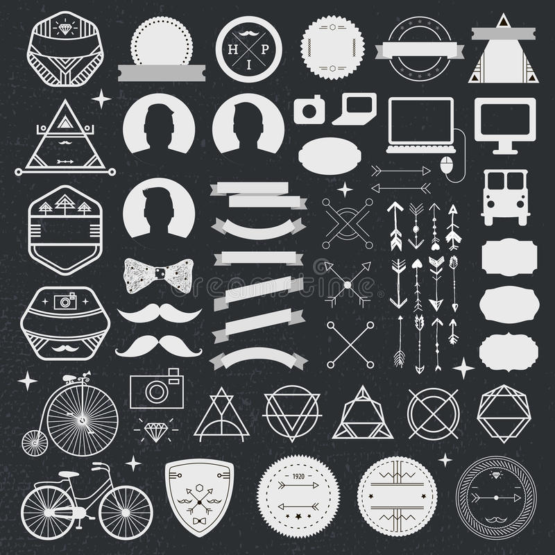 Set of vintage styled design hipster icons. Vector signs and symbols templates for design. phone, gadgets, arrows royalty free illustration