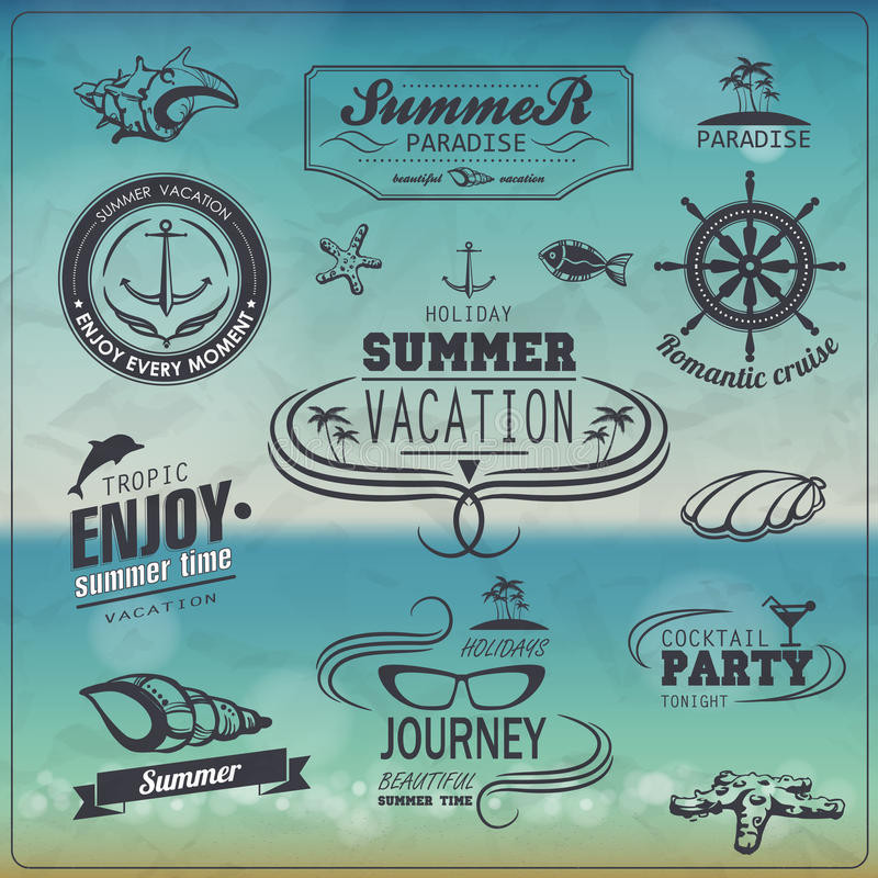Set of Vintage summer typography design. With labels, icons elements royalty free illustration