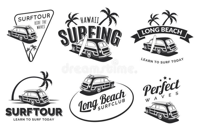 Set of vintage surfing car labels, badges and emblems. Old school car with surfboard. Vector logo. vector illustration