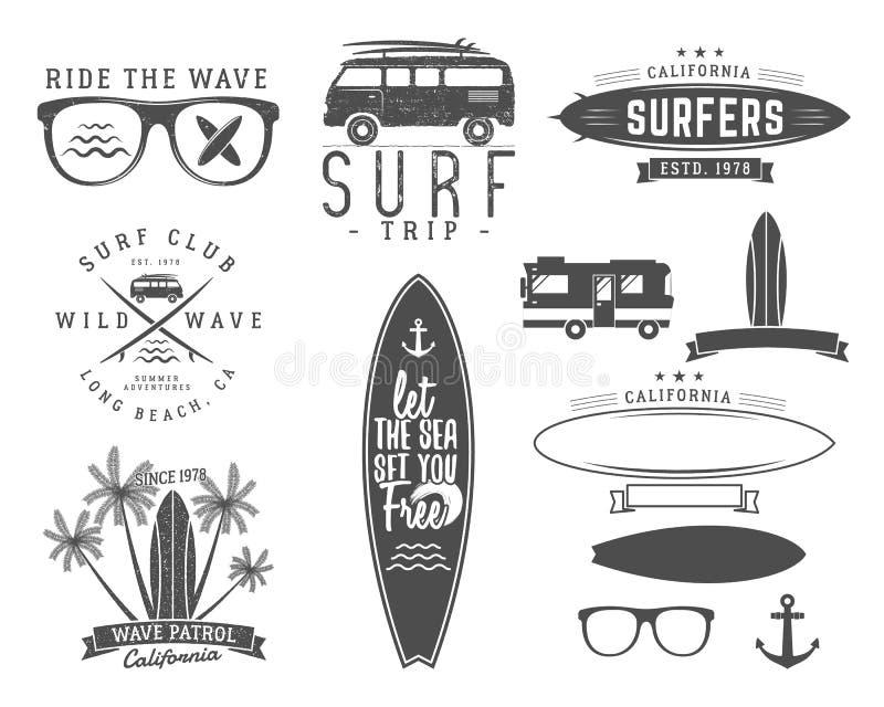 Set of Vintage Surfing Graphics and Emblems for web design or print. Surfer, beach style logo design. Surf Badge. Surfboard seal, elements, symbols. Summer royalty free illustration