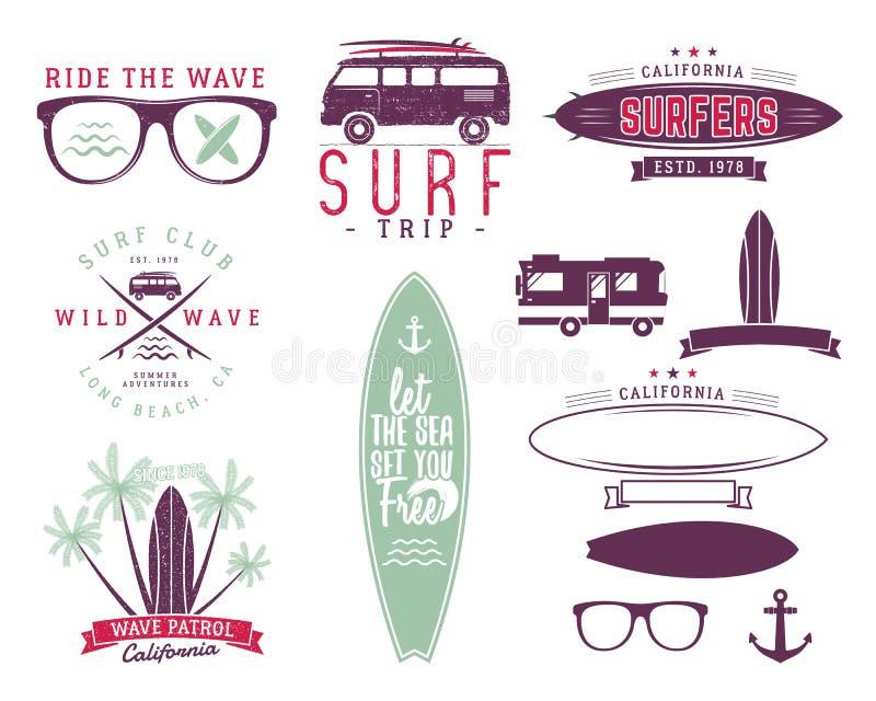 Set of Vintage Surfing Graphics and Emblems for web design or prints. Surfer, beach style logo design. Surf Badge. Surfboard seal, elements, symbols. Summer stock illustration