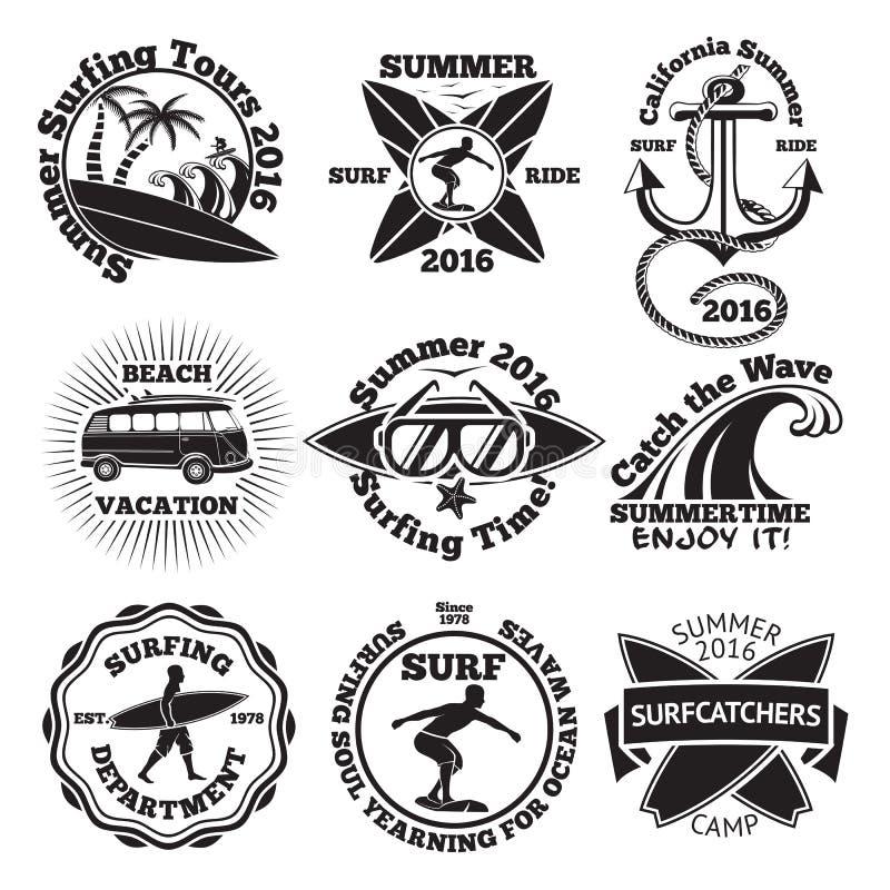 Set of vintage surfing labels with - surfboard, surfer, palms, anchor, sunglasses, wave etc. Vector vector illustration