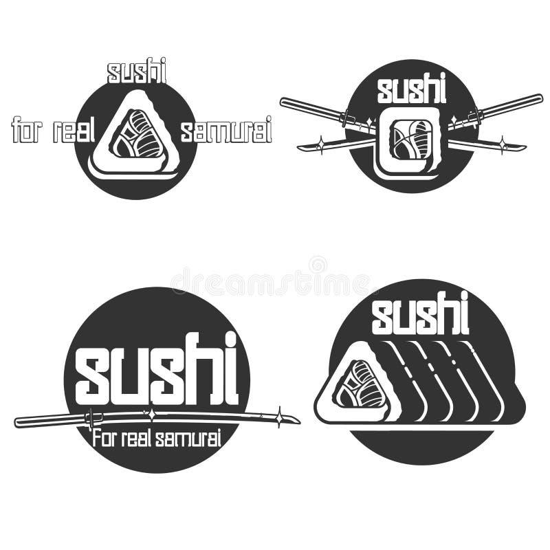 Set of vintage sushi emblems. Sushi Bar. Vector illustration, EPS 10 royalty free illustration