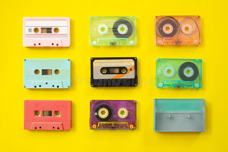 Set of vintage tape cassette recorder stock photography