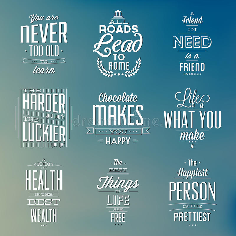 Set Of Vintage Typographic Backgrounds / Motivational Quotes stock illustration