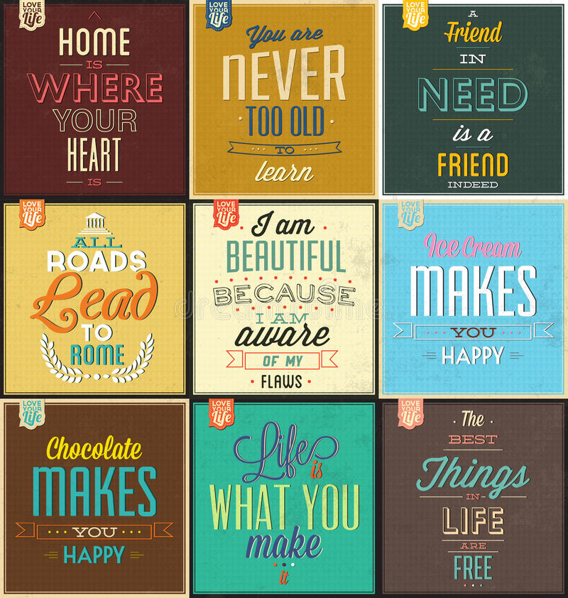 Set Of Vintage Typographic Backgrounds - Motivational Quotes stock illustration