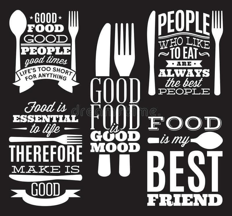 Set of vintage typographic food quotes for menu or t-shift with knife, spoon, fork royalty free illustration