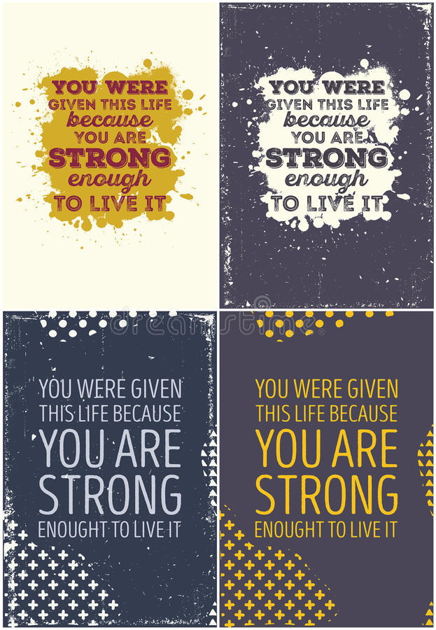 Set Of Vintage Typographic Poster. Motivational Quotes vector illustration