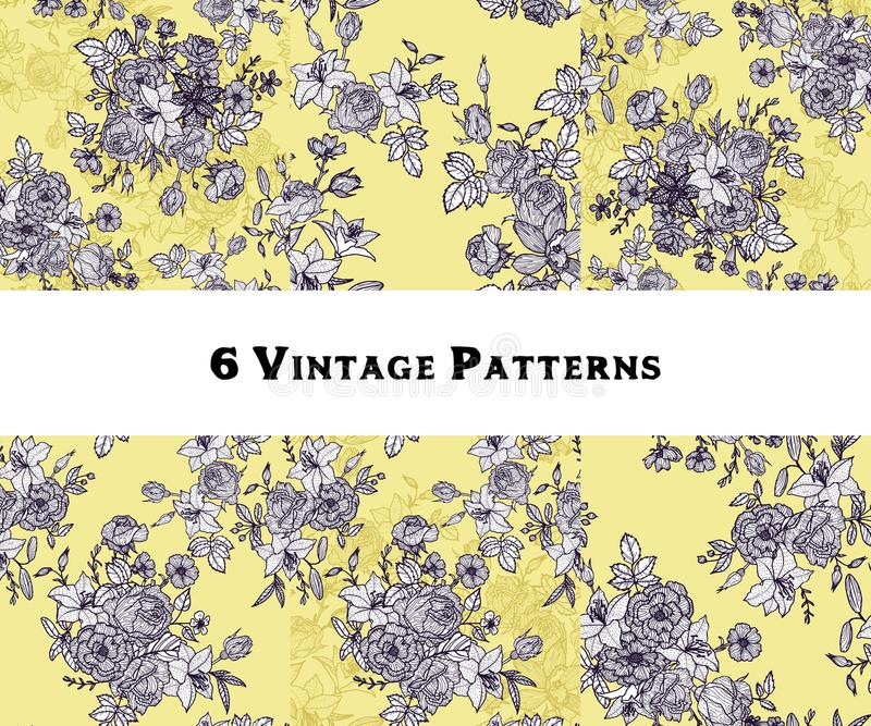 Set of vintage vector floral seamless patterns stock illustration