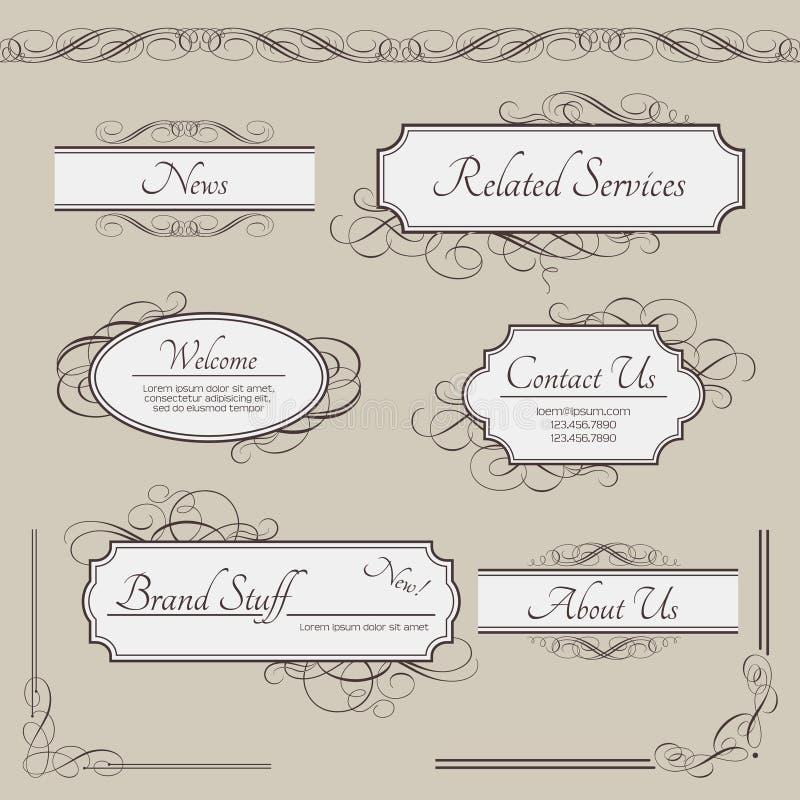 Set of vintage vector labels, frames, borders royalty free illustration