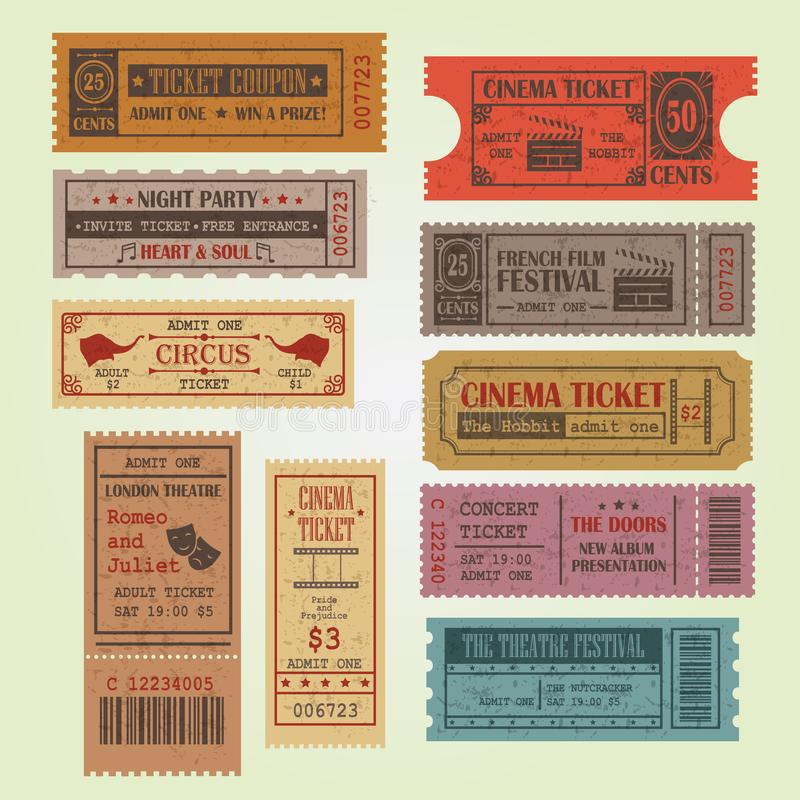 Set of vintage vector tickets royalty free illustration