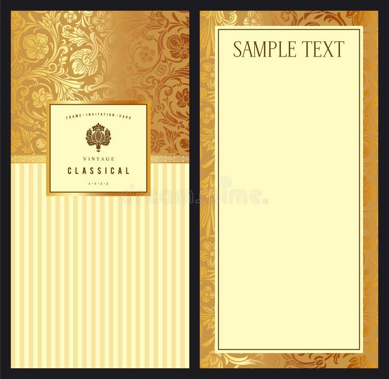Set of vintage vector vertical invitation stock illustration