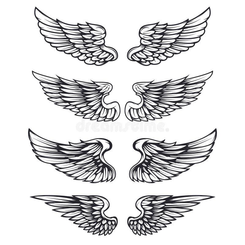 Set of vintage vector wings on white background. Design stock illustration
