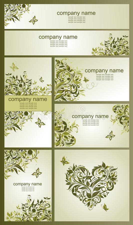 Set of vintage visiting cards and banners with floral olive design vector illustration