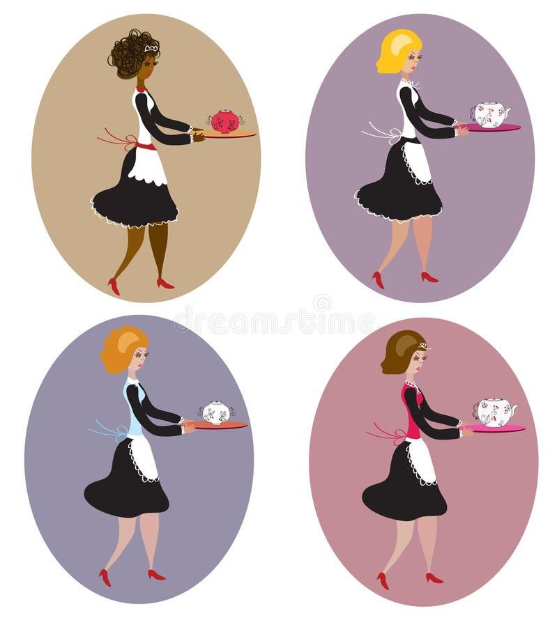 Set Of Vintage Waitresses Royalty Free Stock Photography