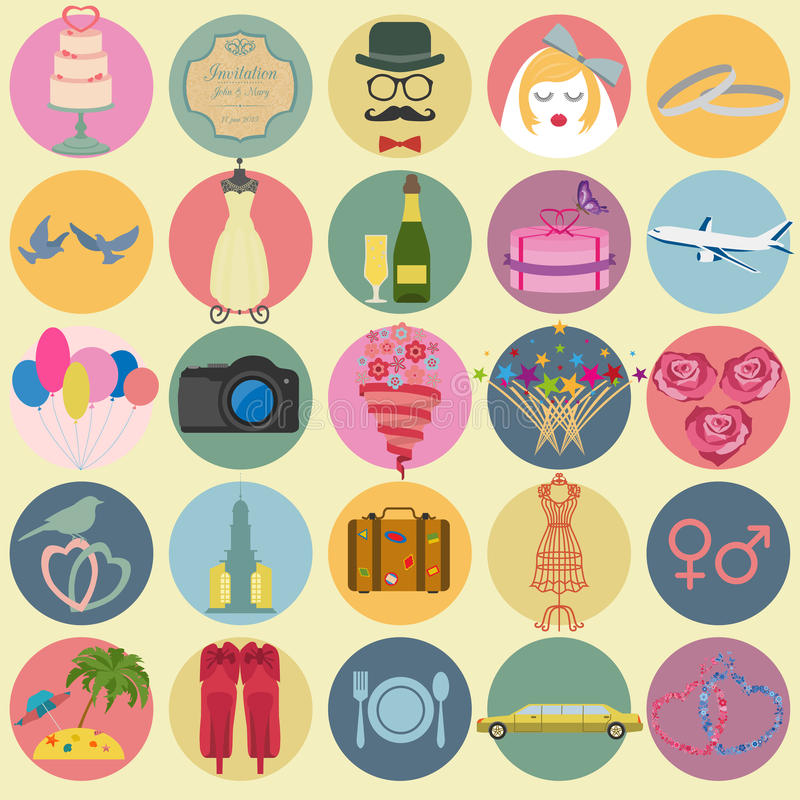 Set of vintage wedding, fashion style and travel elements icons vector illustration