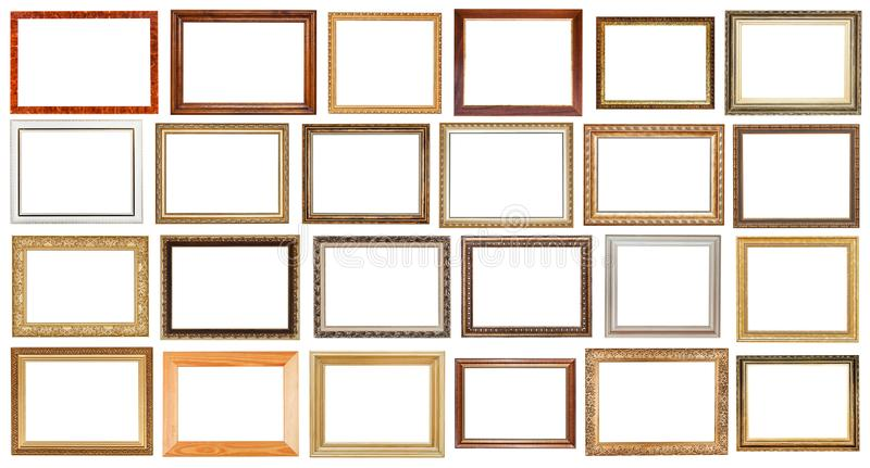Set of vintage wide wooden picture frames isolated stock image