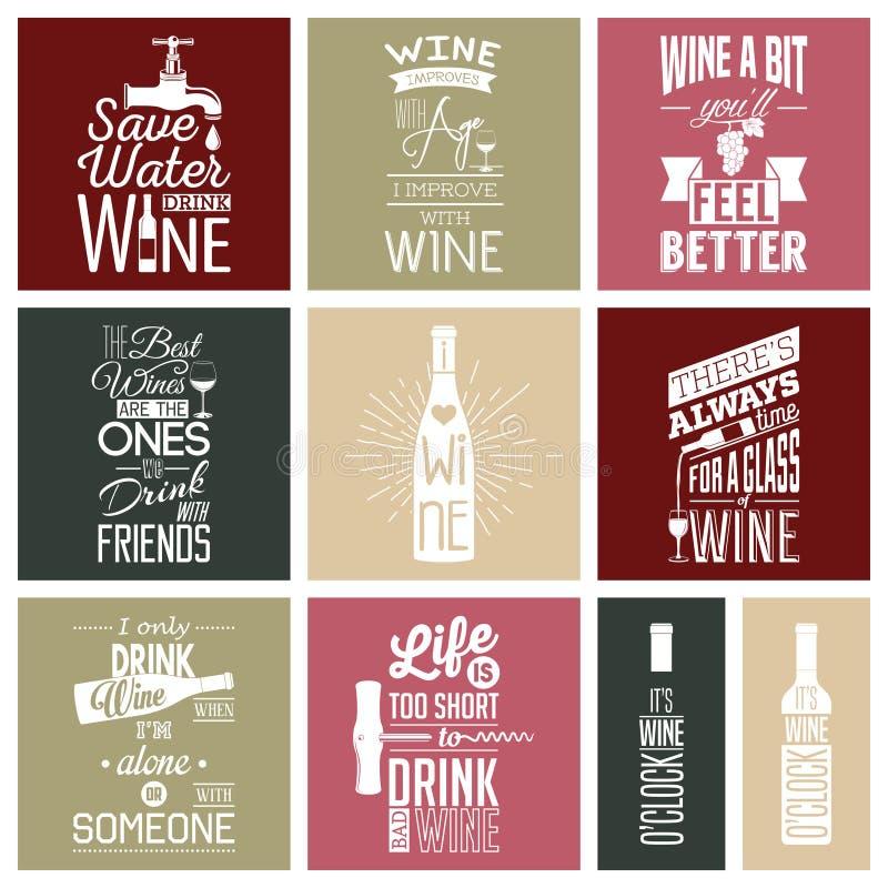 Set of vintage wine typographic quotes vector illustration