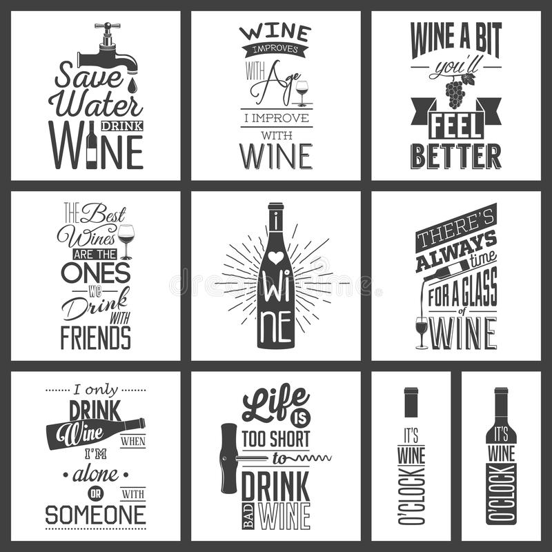Set of vintage wine typographic quotes vector illustration