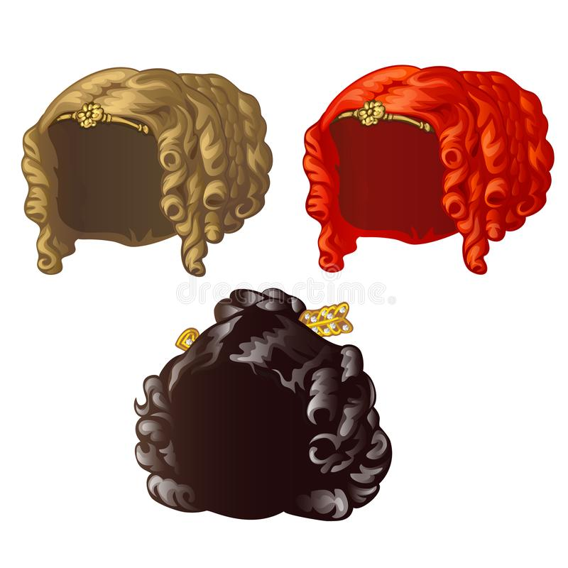 Set of vintage womens wigs for a holiday or a ball isolated on a white background. Vector close-up cartoon illustration. stock illustration
