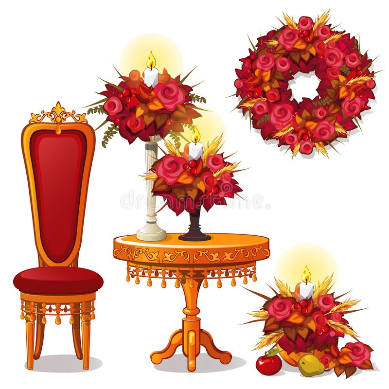 Set of vintage wooden furniture and decor on theme of autumn. Royal chair, table, luxury furniture, candle holder stock illustration