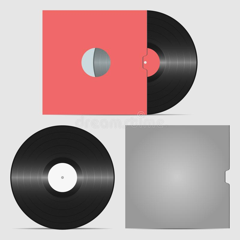 Set of vinyl record and envelope for plate. Collection of retro sound carrier. vector illustration