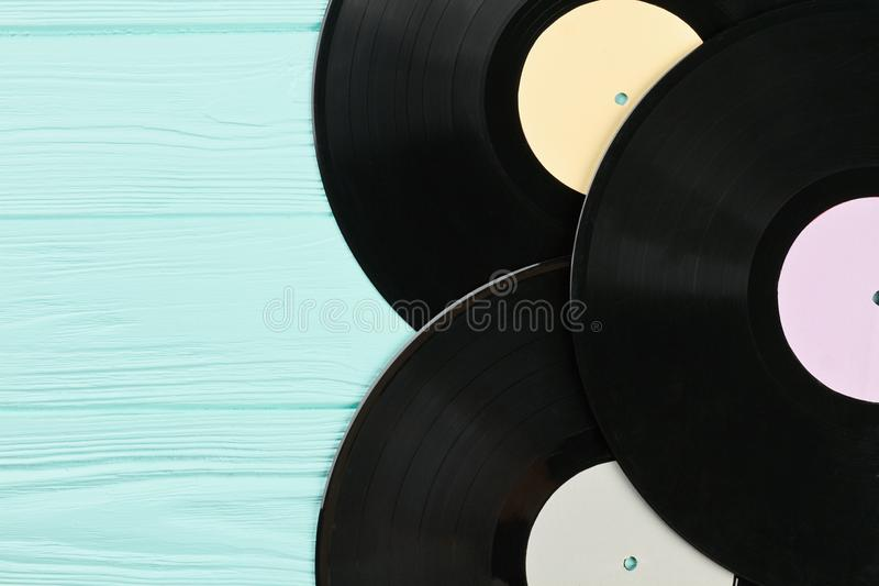 Set of vinyl records close up. stock images