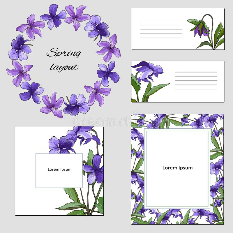 Set of violet purple flowers on a light background. Frames for text, business cards, posters with floral design element vector illustration