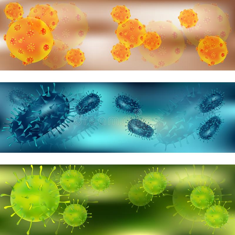 A set of viruses and bacteria. Viruses and bacteria under the microscope. Bacteria virus, microbial cells. Vector stock illustration
