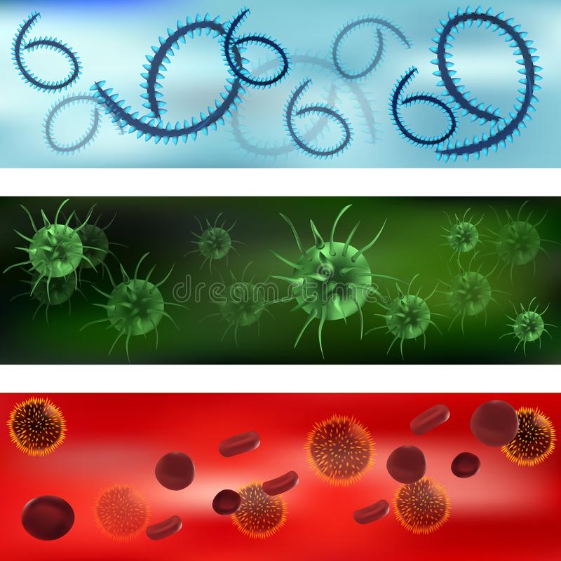 A set of viruses and bacteria. Viruses and bacteria under the microscope. Bacterial virus, microbial cells. Vector royalty free illustration