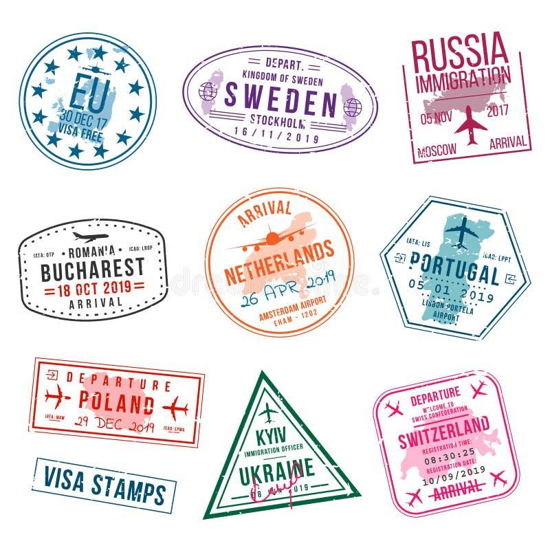 Ukraine Country Visa Stamp On Passport. Stock Vector
