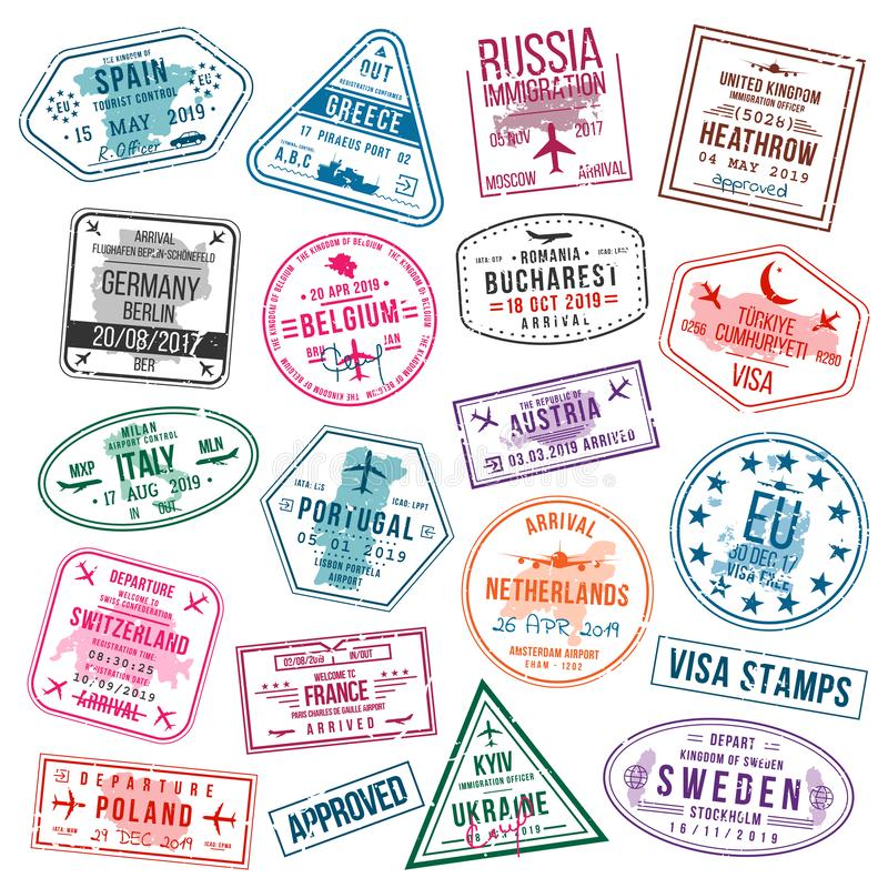 Set of visa stamps for passports. International and immigration office stamps. Arrival and departure visa stamps vector illustration