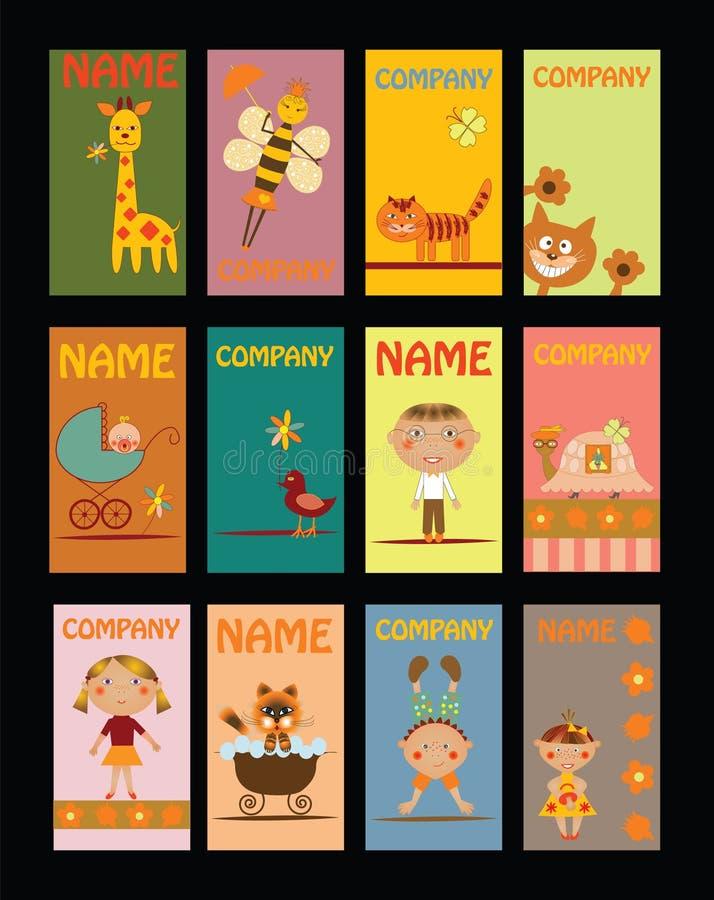 Set Visitenkarten Für Kindergarten Vektor Abbildung