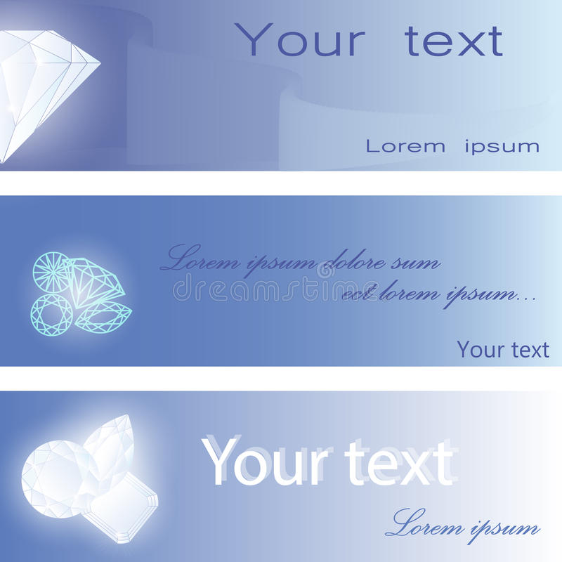 Set of visiting cards with diamonds. On blue background. Vector illustration for bunners or cards vector illustration