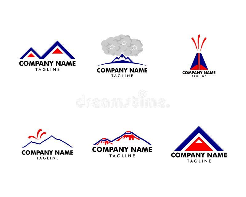 Set of Volcano mountain logo, Symbol and icon of volcano mountain vector illustration