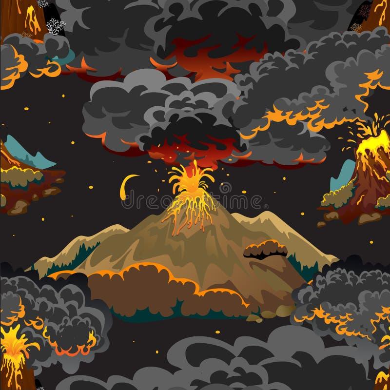 Set volcanoes różni stopnie erupcja, niebezpieczny vulcan, salut od magma popiółów, dosypiania lub obudzenia, i ilustracji