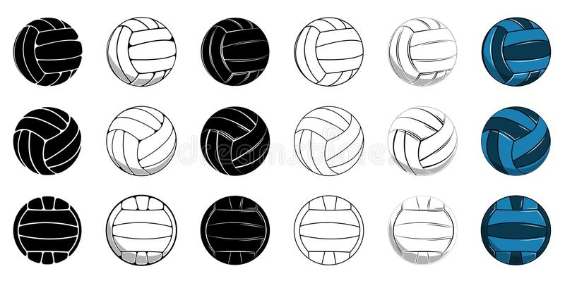 Set volleyball icon contour ball, colored ball. Set volleyball ball icon, contour ball, colored ball vector illustration vector illustration
