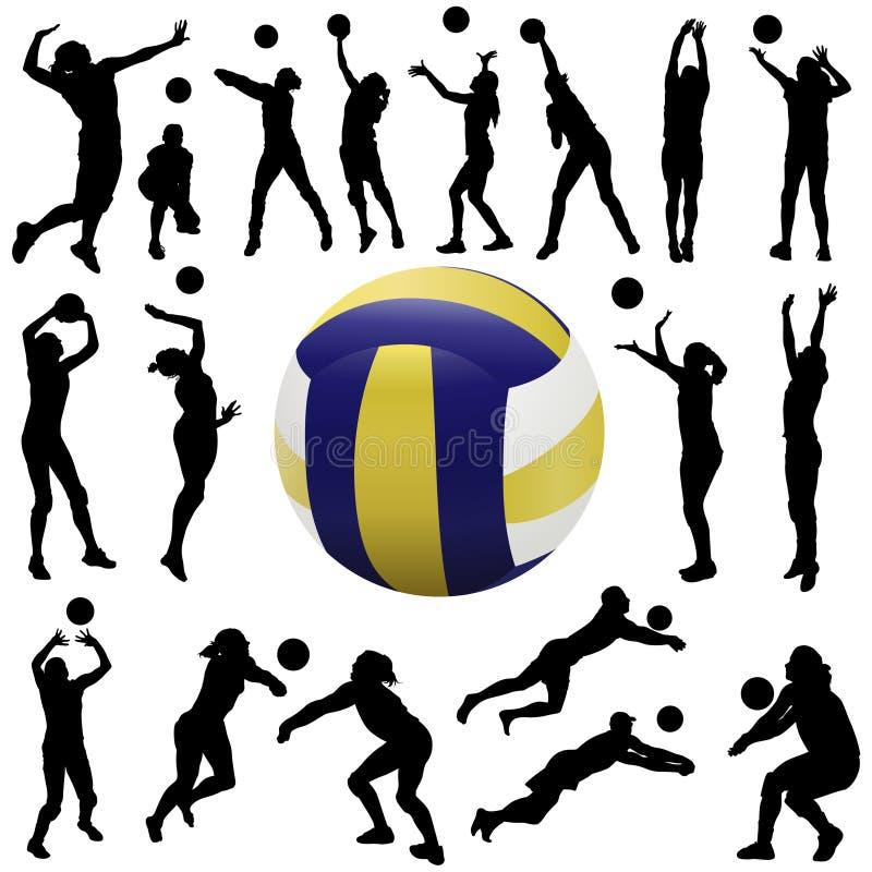 set volleyboll för spelare royaltyfri illustrationer