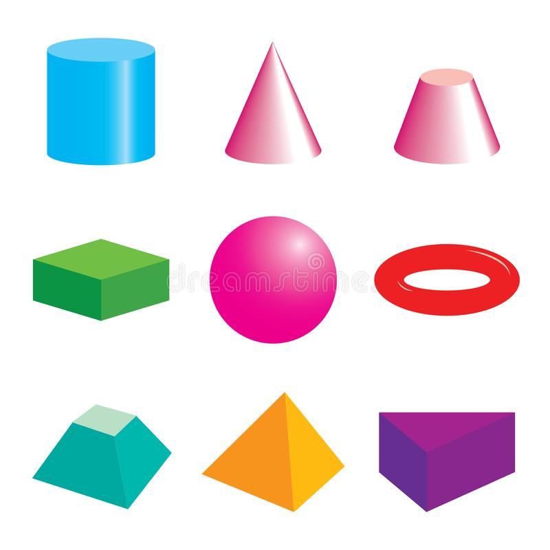 Set of volumetric geometrical colored shapes royalty free illustration