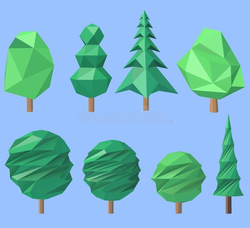 Snowy Peaks Christmas Tree Farm: Two Polygonal Trees Stock Vector. Illustration Of Season