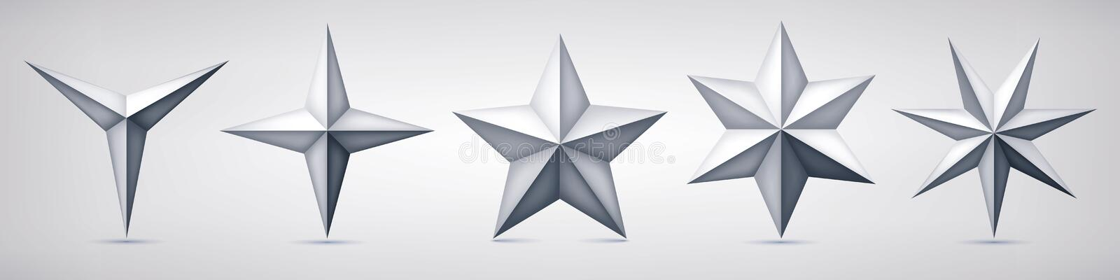 Set of volumetric vector stars. Three, four, five, six and seven coal forms, geometry shape, abstract vector royalty free illustration