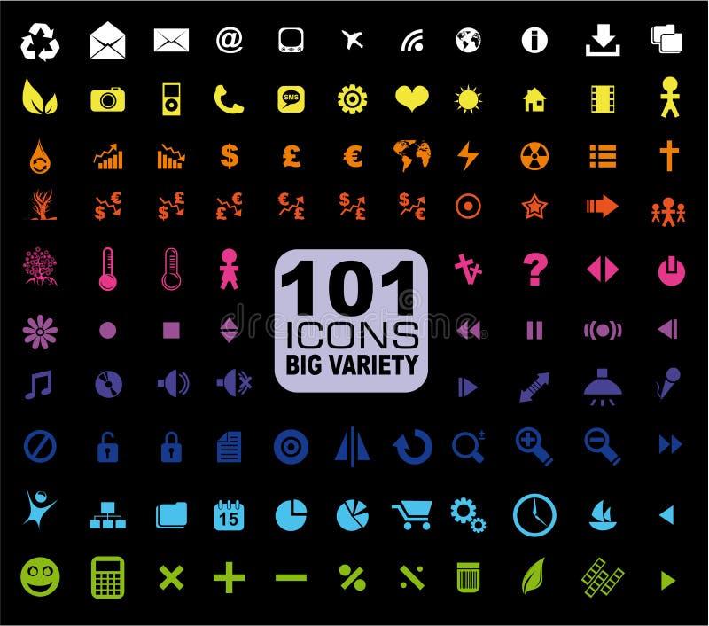 Set von 101 Ikonen - General. Internet, Mulstimedia vektor abbildung