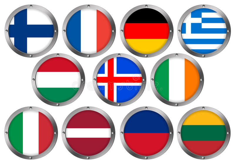 Download Set Von 11 Markierungsfahnen Im Runden Metall Feld-Europa 2 Stock Abbildung - Illustration von latvian, isländisch: 26365972