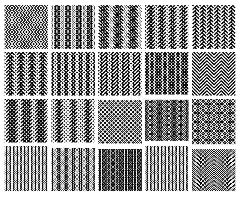 Set von 20 nahtlosen Mustern des Monochroms einfach lizenzfreie abbildung